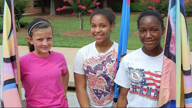 Ashley-Evans-Madison-Gallien-and-Nkima-Stephenson-at-flag-camp-at-MMS
