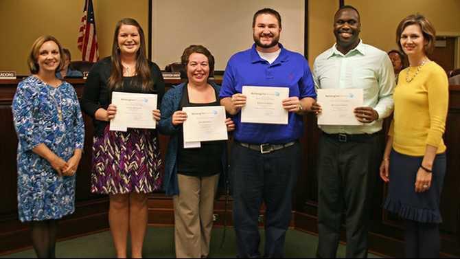 2014-Spring-ReImagine-Newton-Classroom-Grant-winners-LtoR-Jami-Berry-grant-sub-committee-chair-Cecily-Bullock-Jessi-Braswell-Randy-Norman-Benjamin-Green-and-Hillary-Edgar-board-chair