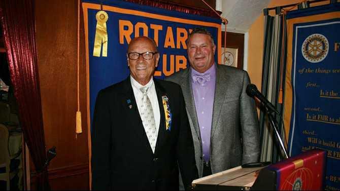 0620PhotoRotary - Rockdale Rotary 1992 president Clark Dowdy and new president Tony Dowdy