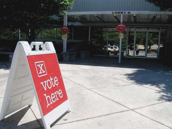 vote here sign and doors horiz IMG 5479