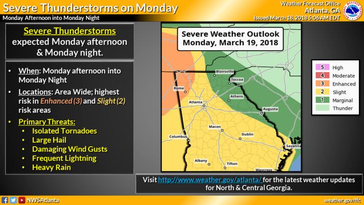 Severe Weather Threat Monday, March 19, 2018