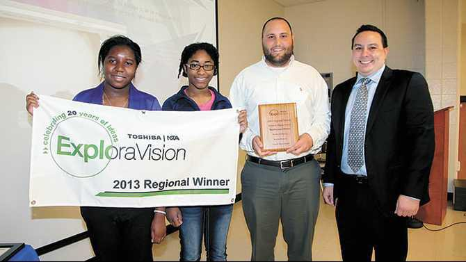 Exploravision-regional-winners-Magnet-students-Karimah-Francis-and-Kristin-Nzerue-with-advisor-Jesse-Smith-and-Toshiba-rep-Greg-Lew-4-11-13-MK-IMG 4275