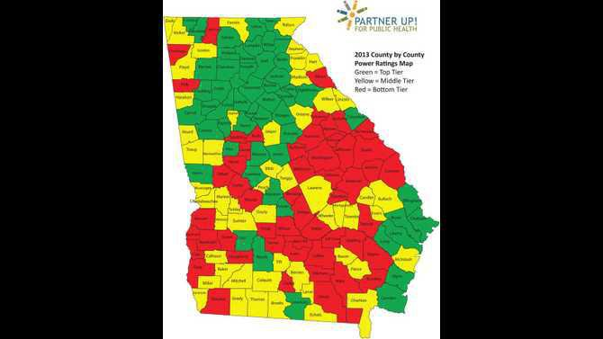 Partner Up for Public Health state rankings map 12122957