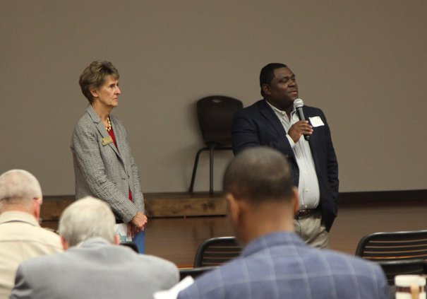BOC Chairman Marcello Banes and Disrtrict 3 Commissioner nancy Schulz welcome ACCG members Thursday afternoon.jpg