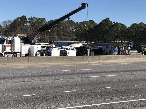 Overturned truck on I-20 Westbound