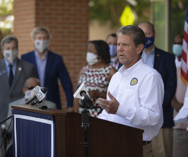 Kemp speaks on masks in Augusta during his Wear A Mask tour earlier this month.
