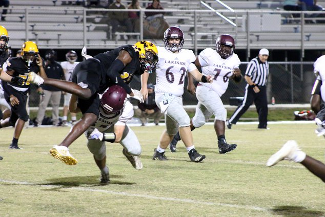 Alcovy defender goes airborne