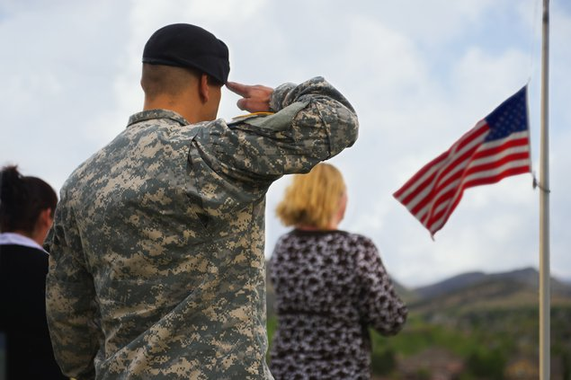 Soldier salutes