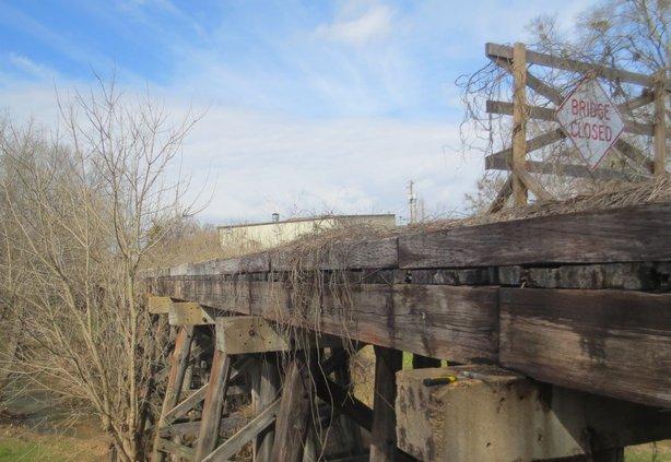 Dried Indian Creek trestle bridge