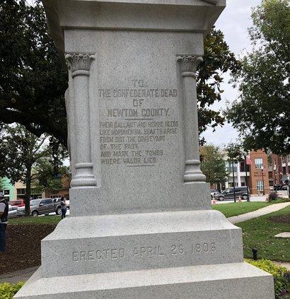 Confederate statue inscription