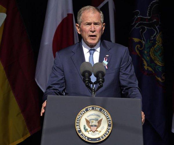 Bush at Shanksville, Pa.