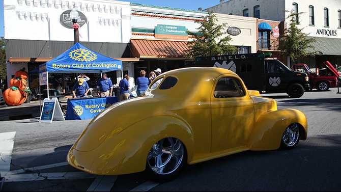 yellow car and rotary